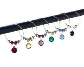 Wine Glass Charms - Swarovski Crystal Channels - Set of 6 Wine Charms - Wine Lover Gift