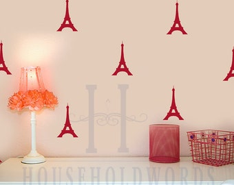 College dorm decorations, Peel and stick wall decals Paris Decor, Eiffel Tower, Fashion City, Set of 30, Geometric Wall Stickers, Girls Gift