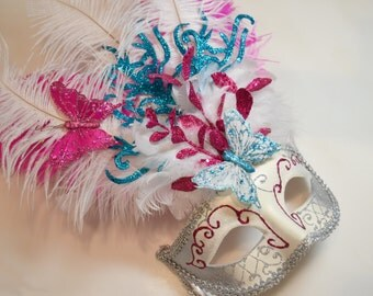 Hot Pink Teal Silver Venetian Stick Mask