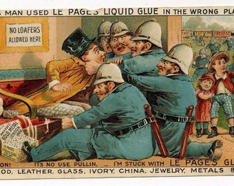 Victorian Trade Card - Le Pages Liquid Glue - Police - Late 1800s