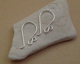Sterling Silve Earring Wire - Shepherds earrings Hooks - French Hook - Short Earwires - Handmade DIY Jewelry Supplies - Double Loop Earwires