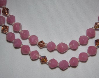 Vintage  Art  Deco Frosted Pink Glass Bead Pink Crystal Bead Double Strand Necklace