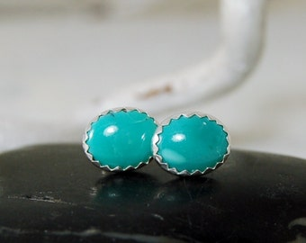 Turquoise Stud Earrings Sterling Silver Posts 8mmX10mm