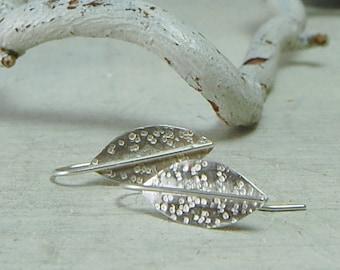 Modern Silver Leaf Earrings Sterling Silver Leaf Earrings Hooks