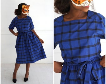 Vintage 1950's Blue and Black Windowpane Day Dress with Square Neckine by Lanz Originals | Small/Medium
