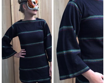 Vintage 70's Black Knit Tunic Sweater Dress with Rainbow Stripes and Bell Sleeves by Beldoch Popper | Small Medium