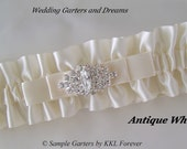 Rhinestone Marquee Wedding Garter Handmade Antique White Garter