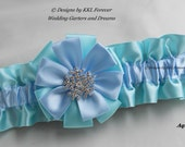 Christmas Rhinestone Snowflake Charm Wedding Garter Handmade Aqua and Blue Garter
