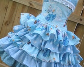 Ready to Ship Custom Boutique Cinderella Disney Blue Ruffle  Dress Girl    4  5  RTS