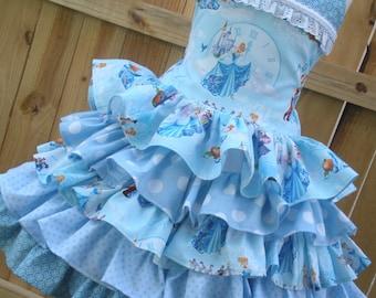 Made to Order  Custom Boutique Cinderella Disney Blue Ruffle  Dress Girl Size 2 3 4 5 6 7 8