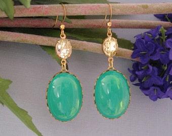 Green Opal Jonquile Earrings.