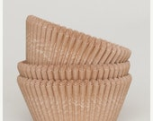 Pre Holiday Stock Up Sale 50 Pc Pretty Unbleached Natural Kraft Cupcake Liners 2X1.25 Inch Size Perfect for Parties