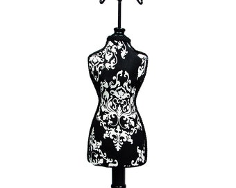 One Black and White Damask Fabric Covered Table top Mannequin 15.5 Inches Tall Jewelry Display