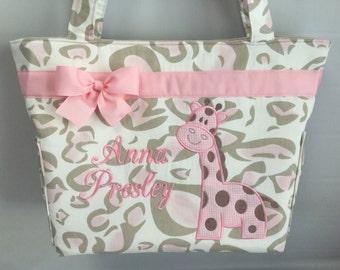 GIRAFFE Appliqué Diaper Bag  .... Bottle  POCKETS ..Monogrammed FREE