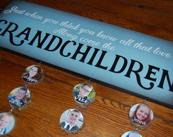 "Mother's Day Gift for Grandma- GRANDCHILDREN Sign Only- Giclee MoUNTED prints- 8"" x 24"""