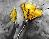 Ink drawing on canvas A4 (20x30cm) - abstract yellow flowers