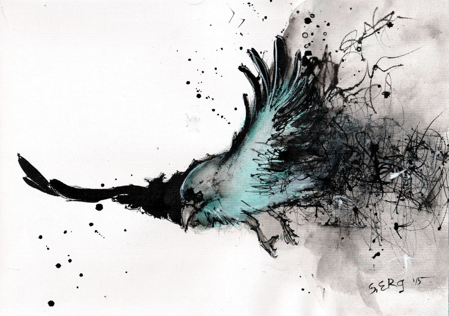 Ink drawing on canvas A4 20x30cm Abstract flying bird