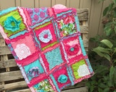 Quilt, Ruffled Flower in Hot Pink and turquoise- Made to Order