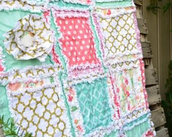 Girl Crib Bedding- Baby Girl Rag Quilt for Crib Bedding- Coral, Mint, Gold Baby Crib Blanket- Crib Bed Quilt- Baby Girl Bedding- Coral Quilt