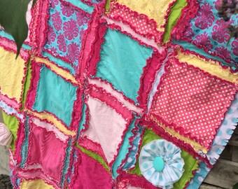 Floral Quilt Modern Crib Bedding - Toddler Bedding Girl - Turquoise / Yellow / Pink Girls Bedding - Baby Girl Rag Quilt- Toddler Duvet Cover