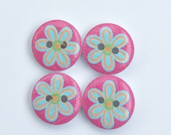 Wood Buttons, Pink and Aqua Flowers Flat Back, 4 Hole, 1/2 Inch-15mm  Small