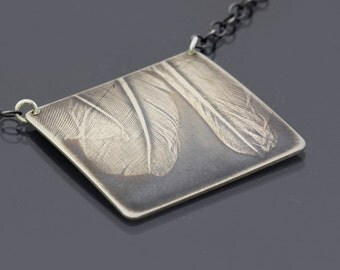 Rustic Sterling Silver Three Feathers Necklace - Imprinted Bird Feathers Art Jewelry