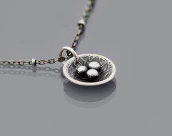 Nest Necklace, small bird nest pendant, etched, oxidized sterling silver, nature jewelry, mother's necklace
