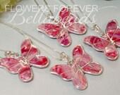 Flower Petal Memorial Necklace, Miscarry Jewelry, Bereavement Gift Idea, Pet Memorial, Memorial Flower Butterfly Pendant