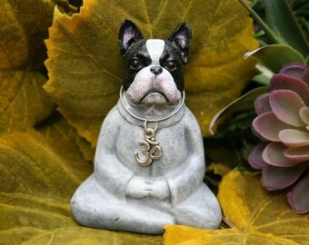 Buddha Dog - Boston Terrier Miniature Meditation Statue - Zen Dog - Concrete Garden Statue or Pet Memorial