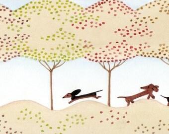 Dachshunds (doxies) frolic in fall foliage / Lynch folk art print weiner wiener