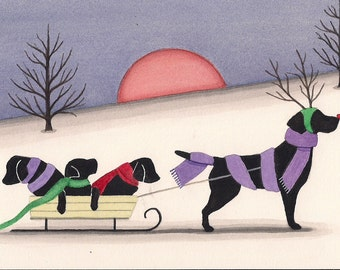 Black labrador (lab) retriever family taking sled ride / Lynch signed folk art print