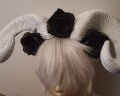 Horns, Ram horns, White horns, Flower crown, Black rose, Rose crown, Horror, Halloween,Day of the dead