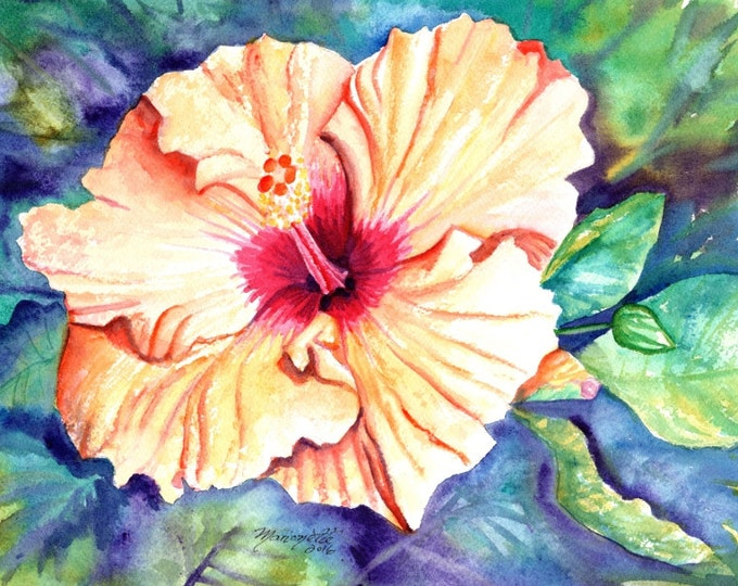 hibiscus paintings, flower watercolor art, tropical flowers, orange hibiscus painting, hawaii wall art, hawaiian paintings, kauai maui oahu