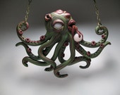 Zombie Octopus Necklace - Polymer Clay Jewelry