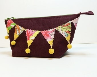 FREE SHIPPING - great gift - zipper pouch with pennant motif - cosmetic makeup bag made from recycled scrap fabric