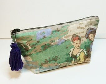 Gift for Her - Zipper pouch with vintage motif - cosmetic makeup bag made from recycled scrap fabric