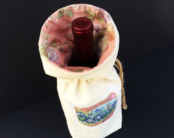 Wine Gift Bag Tote, Great Hostess Gift, made from upcycled material with vintage blue violet floral motif, lined