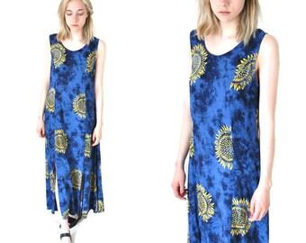 90s SUNFLOWER dress / vintage early 90s GRUNGE boho relaxed fit tie dye MIDI side slit festival dress