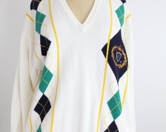 Vintage Pringle of Scotland Pullover Sweater | Intarsia Knit V-Neck Top | Argyle Cotton Jumper | M