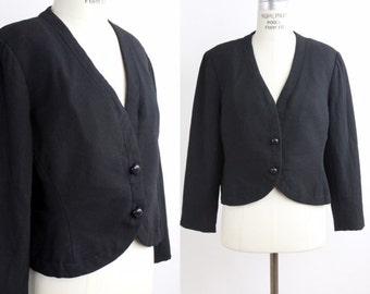 1960s Adele Simpson wool jacket   vintage black wool dinner jacket   60s silk lined blazer   m-l