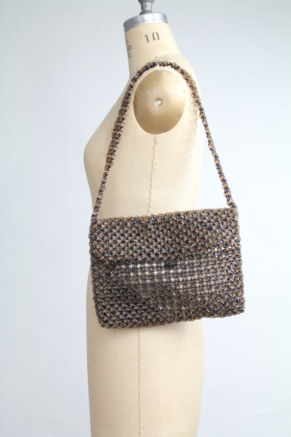 SALE ...... 70s vintage Petites Fleurs beaded handbag   vintage 1970s beaded baguette