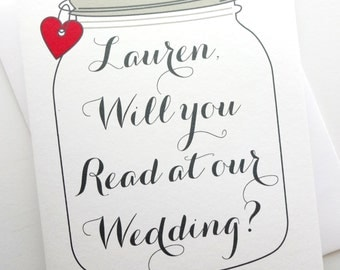 Will You Read At Our Wedding? - Personalized Rustic Mason Jar Design