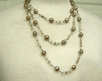 "Extra Long Silver Chain Necklace 66"" Triple Tiers of Versatile Tribal Look Costume Jewelry for Many Looks - Vintage 80s"