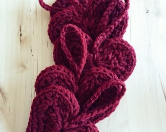 Hand Crocheted Heart Ornament's in Burgundy, Gray, Red (set of five)