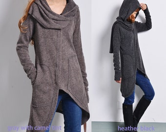 Snow lover - knit cardigan style coat / deconstructed cardigan / asymmetrical knit cape / scarf collar sweater / gray jacket (Y1573)