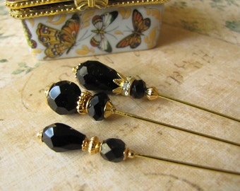 Black Crystal Hijab Pins, Hatpins, Gold Plated Stick Pins