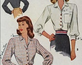 Vintage 40s Button Front GLAM Bishop Sleeve Topstitched Classic Blouse Wounded Bird Sewing Pattern McCall 6773 B32