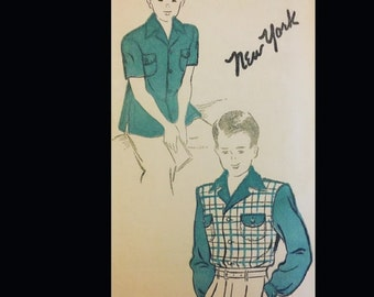 Vintage 40s Boy's Button Front Wide Notched Collar Rockabilly RAB Shirt Sewing Pattern 926 Chest 32
