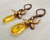 osO HONEY Oso brass and topaz glass briolettes earrings