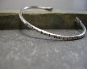 handmade sterling cuff bracelet, handforged, textured, oxidized, notched, distressed, organic, rustic, dainty cuff bracelet